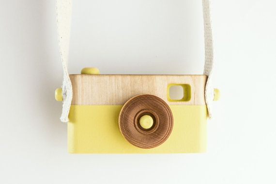Wooden Toy Camera, Wooden Toys, Baby Birthday Gift, Toddler Birthday Gift, Citrus Yellow