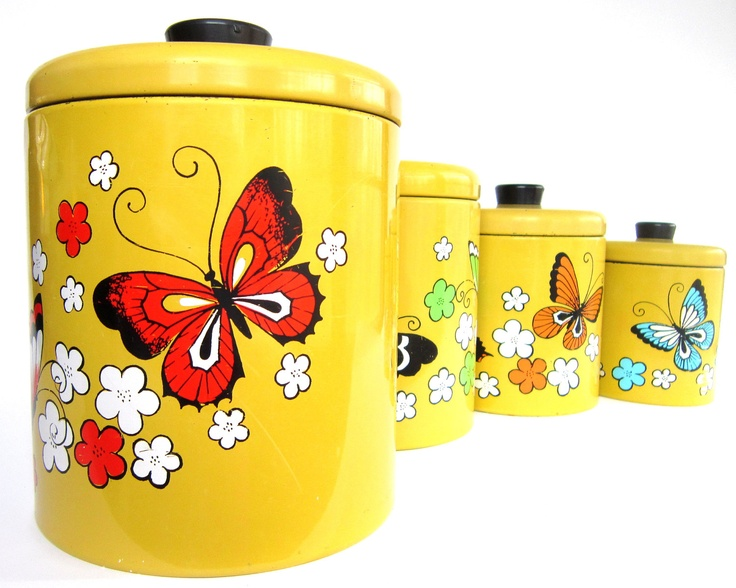 Vintage Ransburg Canister Set, Retro Butterfly Harvest Gold, Mid-Century Metal Storage Containers