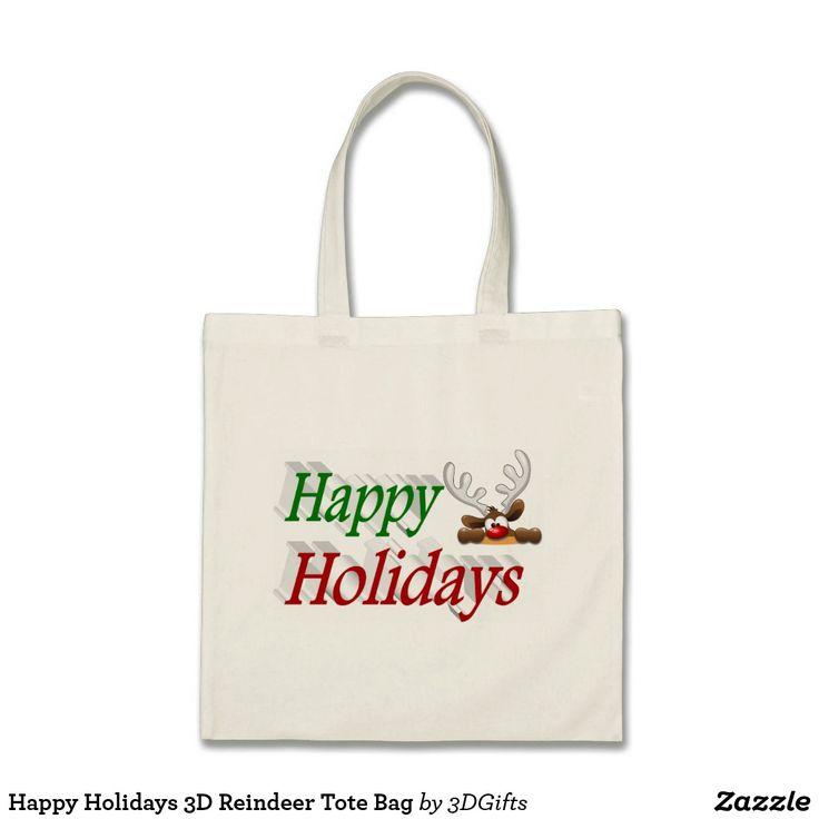 Happy Holidays 3D Reindeer Tote Bag #Christmas