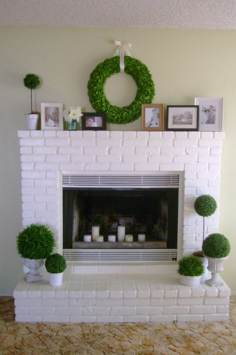 white brick fireplace after