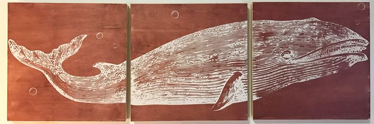 12 x 36 inch whale wooden print by CreationsSauvages on Etsy
