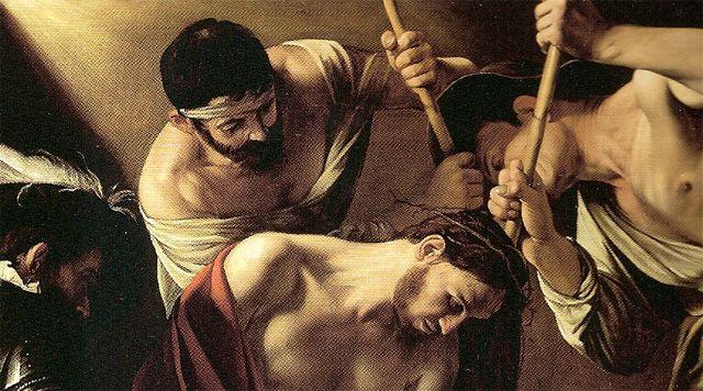 "Caravaggio (1571-1610), ""Incoronazione di spine"", 1603 olio su tela 127x165 cm Vienna, Kunsthistorisches Museum. Part. gruppo"
