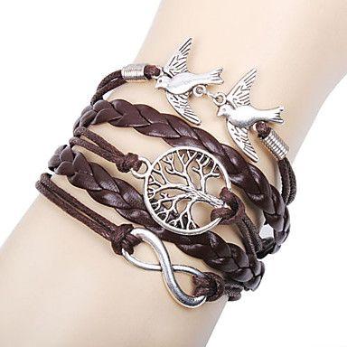EUR € 1.92 - multilayer legering liefde vogels leven boom en oneindigheid handgemaakte leren armband,