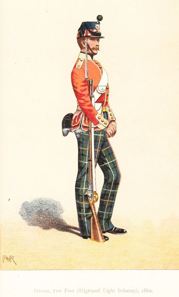 British; 71st Foot (Highland) Light Infantry, Private, 1862. From The Records and Badges of Every Regiment and Corps in the British Army by Henry Manners Chichester and George Burges-Short, 1900