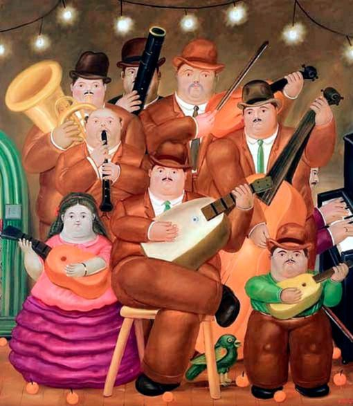 """""""Los músicos"""" (1979). Fernando Botero nació en la ciudad de Medellín Colombia en el año de 1932. Su formación artística fue autodidacta. Sus primeras obras conocidas son las ilustraciones que publicó en el suplemento literario del diario El Colombiano de su ciudad natal. """"Los músicos"""" impusieron un récord en 2006 cuando un coleccionista adquirió la obra a través de una subasta por $2.03 millones de dólares.  #CulturaColectivArte #arte #art #artincanvas #Botero #Boterismo #PinCCArte…"""