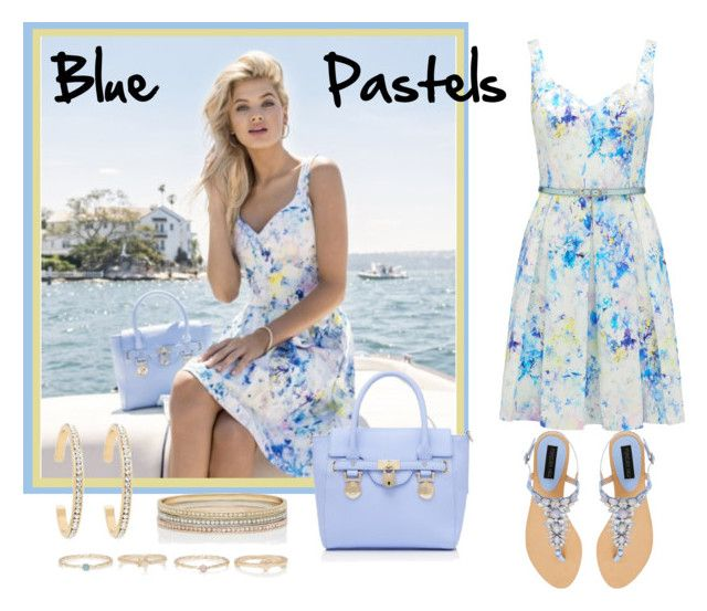 """Blue Pastels"" by shenies ❤ liked on Polyvore featuring Forever New, dress, shoes, bag, jewelry and forevernew"