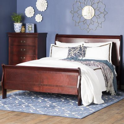 Features:  -Slatted base can be used.  -Cherry finish.  -Material: 100% solid wood.  Frame Material: -Wood.  Bed Size: -Queen.  Headboard Included: -Yes.  Footboard Included: -Yes.  Slats Required: -Y