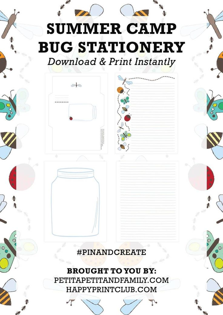 Printable Bug Stationery — PETIT A PETIT +Family