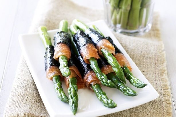 Asparagus In Salmon With Nori by Taste.Com.Au. Asparagus is royally fantastic wrapped in salmon and seaweed for stylish canapes.