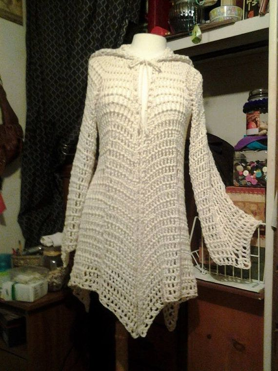 TWO NON-TRADITIONAL CROCHET PATTERNS (patterns work in spaces, not in stitches) for a light-weight cotton hooded gypsy style cardigan. Pattern One fits sizes 5/6 thru 11/12 womens US sizes. Hook Sz: J - Uses 32 Ozs cotton yarn (approximately 1,455 yds); Peaches and Cream or Sugar N Creme brands used. (Note: Pattern has been made with worsted weight acrylic yarns by numerous customers with excellent results.)  Second pattern added to listing fits sizes 16 - 2X womens US sizes. Hook s...