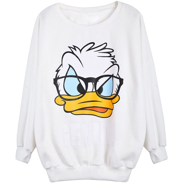 White Long Sleeve Donald Duck Print Sweatshirt ❤ liked on Polyvore featuring tops, hoodies, sweatshirts, white long sleeve top, white tops, patterned sweatshirt, long sleeve tops and print top