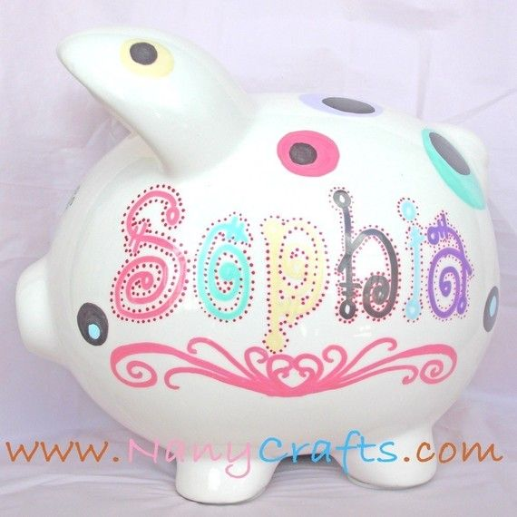 Personalized Piggy Bank  Large Design Dots Mood by NanyCrafts, $31.50