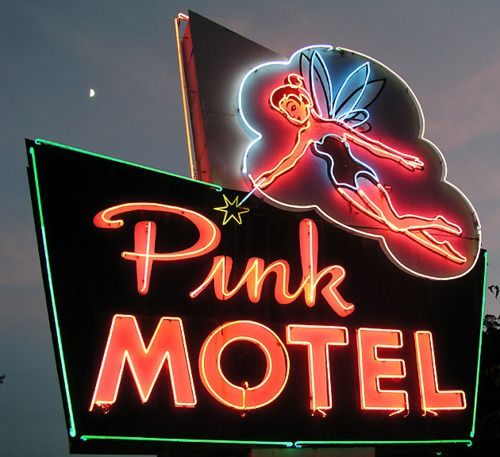 Pink MOTEL. I love quirky hotel signs.