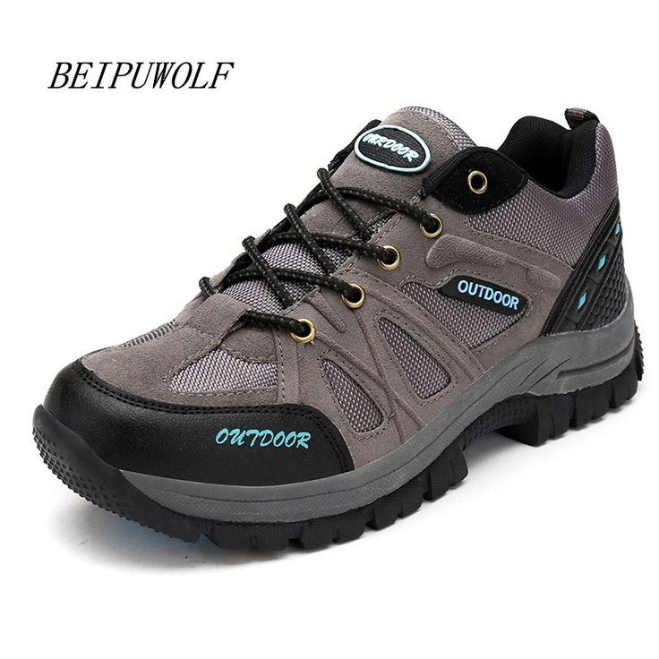 2016 Plus Size 39-48 Winter Outdoor Hiking Shoes For Men Comfortable Anti-skidding Athletic Shoes Lace Up Mountain Sneakers