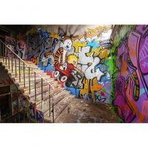Enfant qui descend un escalier sur un chariot Impression HD sur poster, toile, plexiglas®️️️️️️️, forex®️️️️️️️, alu-dibond, alu-dibond brossé, film adhésif et bâche pvc.