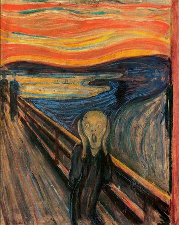O GRITO - Munch fez quatro versões da pintura, para ir substituindo as originais conforme elas eram vendidas. Elas foram feitas entre 1893 e 1910. Muitas outras cópias foram feitas ao longo dos anos. Três das originais podem ser vistas na Galeria Nacional de Oslo (onde está a tela original, feita com a técnica de óleo e pastel sobre cartão) e no Museu Munch (com duas telas), ambos na Noruega. A outra pertence a uma coleção particular.
