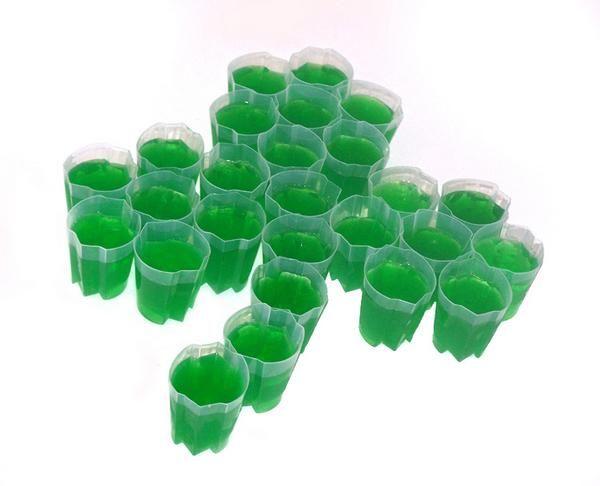 In tribute to St. Patrick's Day around the corner, green jello shots!