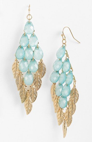 Pretty blue and gold leaf chandelier earrings for summer.