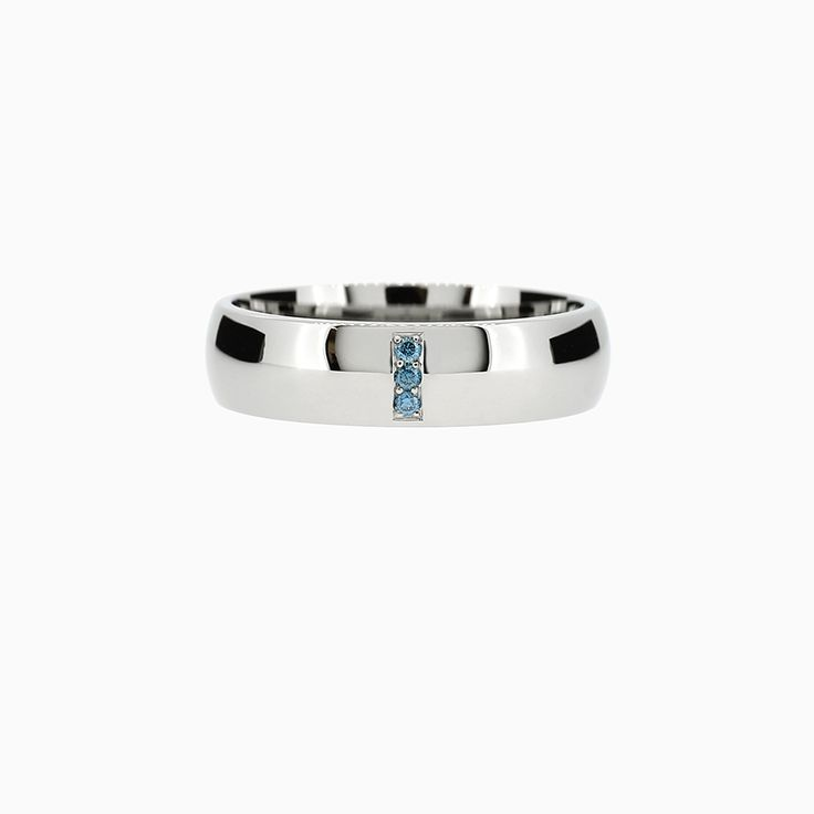 Line Classic Ring with Teal Diamonds in Palladium