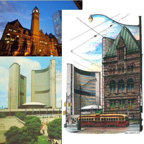 #TBT to #Toronto Old City Hall and Today's City Hall building in 1972.