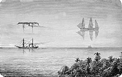 Fata Morgana (mirage) - Wikipedia.  Responsible for Flying Dutchman phenomenon.