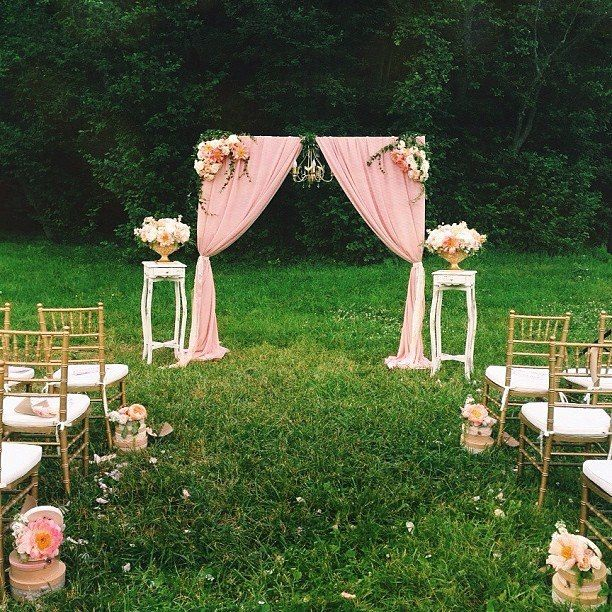 Vintage ceremony outdoor wedding ceremony pink wedding for Backyard wedding decoration ideas