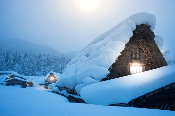 "The picturesque mountain village of Shirakawa-go — which literally translates as ""White River Village"" — has recorded an average of 415 inches (that's about 35 feet) of snowfall every year!"