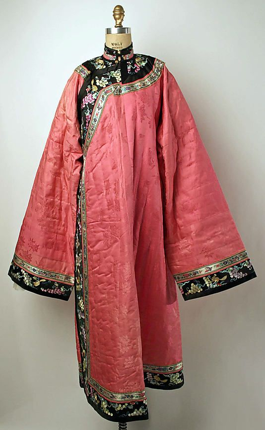 Early 20th century Chinese Women's Robe // Medium: pink silk, metal // Dimensions: Length: 55 in. (139.7 cm) // Credit Line: Gift of Mr. and Mrs. Maxime L. Hermanos, 1962 // Accession Number: C.I.62.44.16