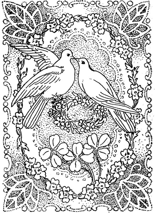 Peace And Love Coloring Pages Doves Kissing In