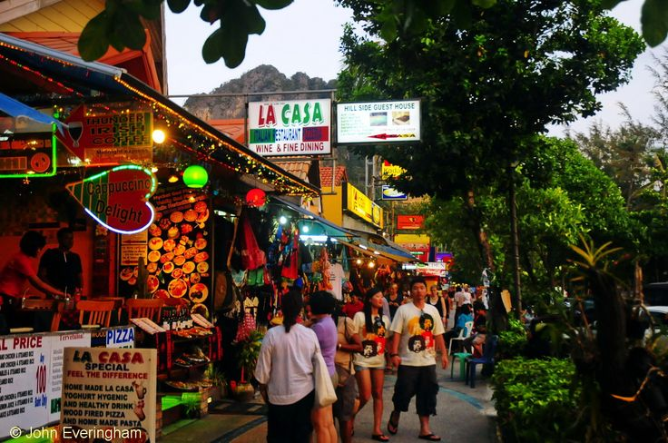 Ao Nang Beach, Krabi, Thailand. The small shopping centre is spread along Ao Nang's beach road.