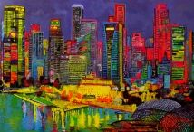 """Blazing City"" Ulpiano Carrasco en Barnadas Huang Gallery Singapore"