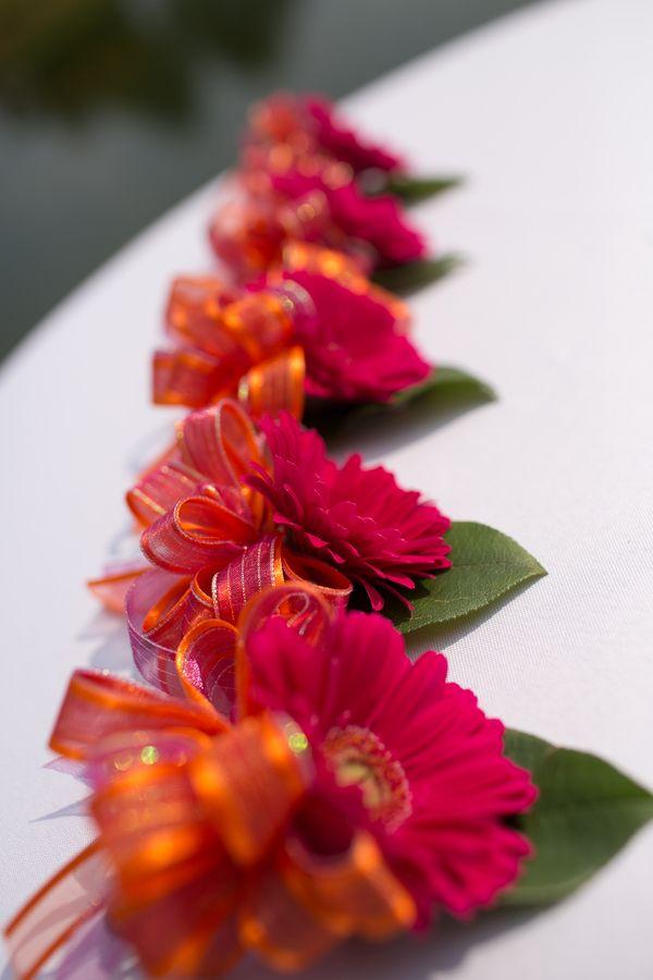 Hot pink & orange gerber daisy boutonnieres