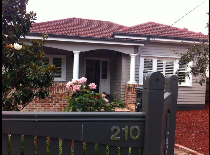 New windows and veranda  Weatherboard Colour - Dulux Dune Fence - Dulux slate grey