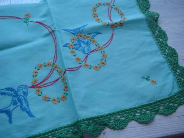 アンティーク小鳥刺繍テーブルクロスドイリー東欧北欧 Scandinavian scandinavian tablecloth ¥2000円 〆03月24日
