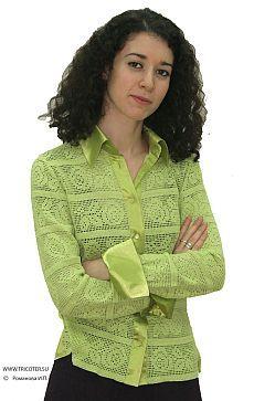 Блузка филейным вязанием комбинированная с атласом