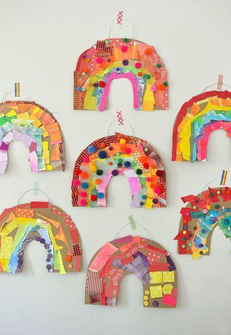 Cardboard Rainbow Collage - kids craft - kid art activity - easy kid craft - frugual kid craft