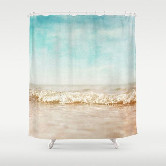 Shower Curtain bathroom decor, sea shower curtain, nautical shower curtain, blue sky cream mint curtain, dreamy curtain waves aqua