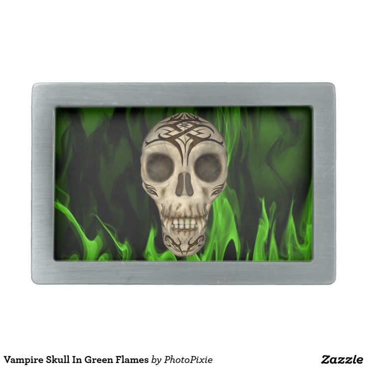 Vampire Skull In Green Flames