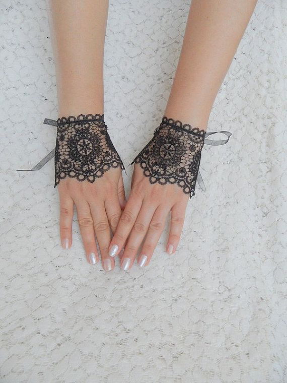 Victorian Lace Gloves | victorian style gloves, lace glove fingerless glove, black gloves ...