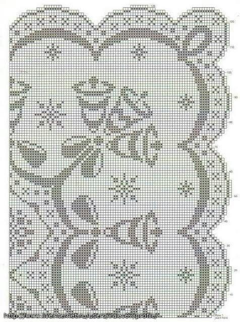 Christmas filet crochet tablecloth pattern diagram                                                                                                                                                                                 More