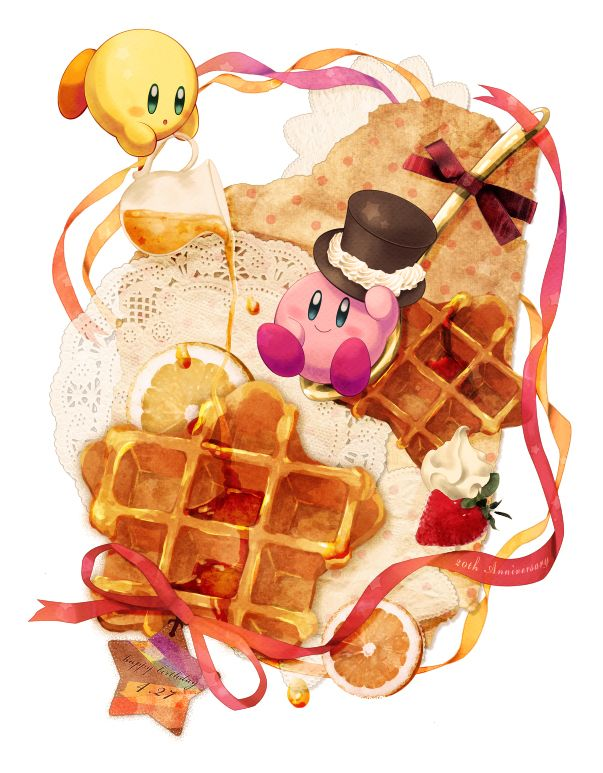 Kirby and waffles. Notice that this was made for Kirby's 20th anniversary (4/27/2012).