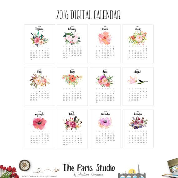 2016 Printable Calendar Instant Download 2016 Monthly Calendar 2016 Watercolor Floral