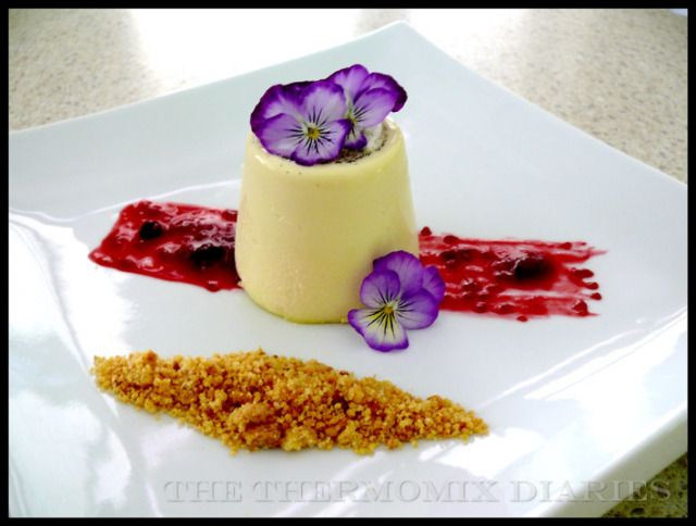 thermomix | Vanilla Panna Cotta with Berry Coulis and Milk Crumbs
