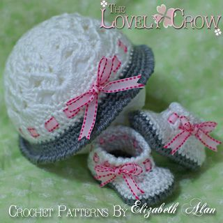 """Hat and Booties Set """"My Angel Baby Cloche and Booties"""" by Elizabeth Alan"""
