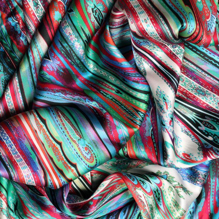 blauwgroen rood fantasie dessin zijde satijn italiaans import