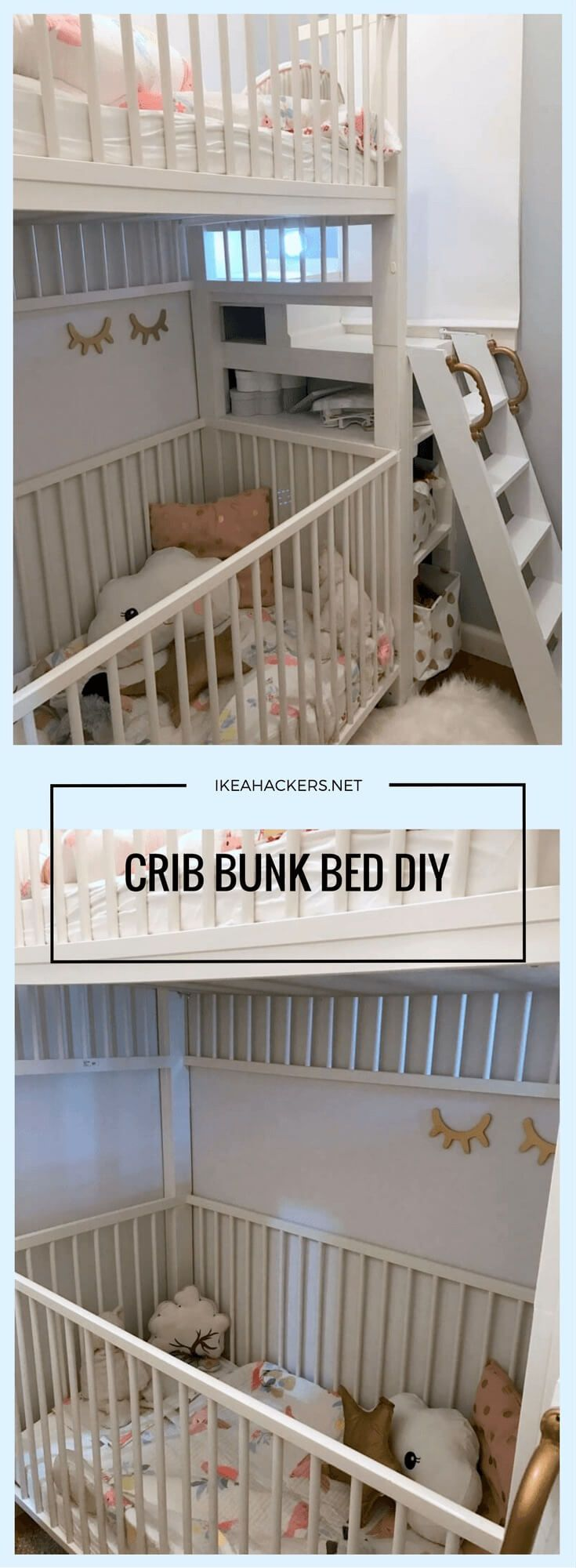 Crib bunk bed hacked from IKEA GULLIVER cots http://www.ikeahackers.net/2017/06/crib-bunk-bed-hacked-ikea-gulliver-cots.html