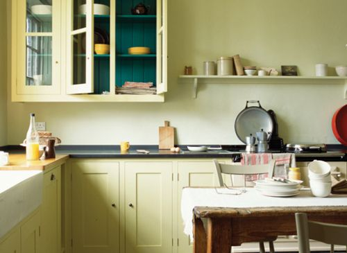 vintage style kitchen, teal cupboard insides, pale yellow