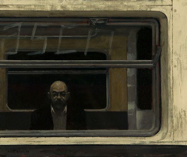 RICK AMOR, 1948 - Self portrait on the New York subway, 2004, oil on canvas, 46 x 52cm