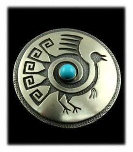 Hopi Overlay Turkey Buckle with natural Sleeping Beauty Turquoise from Arizona