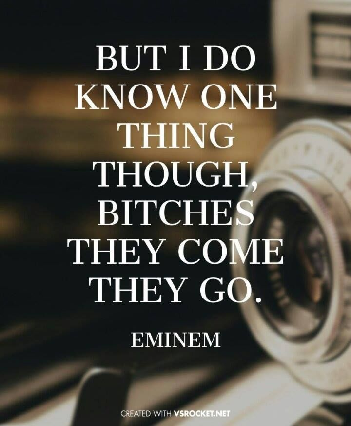 'But I do know one thing though, bitches they come, they go.' - Eminem ~